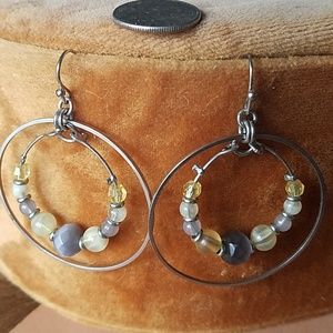 Beaded silver drop hoop earrings